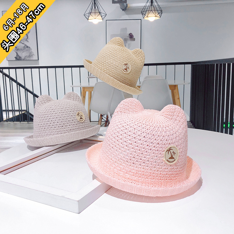 6 to 18 month  han edition infant children hat fisherman hollow out sunshade summer bask straw XA 273