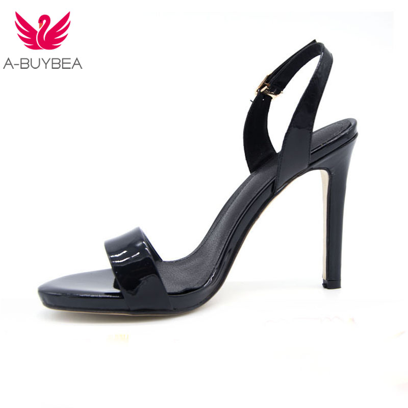 Lady Sandal Shoes For Women Summer Stiletto Extremely High Heel Open Toe Slingback Sandals Shoes Female Genuine Leather Black