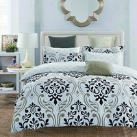 LILIYA 4 6Pieces Polyester Black Flowers Bedding Set Cozy Pillowcase High Quality Duvet Cover X E