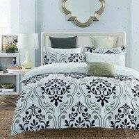 LILIYA 4 6Pieces Polyester Black Flowers Bedding Set Cozy Pillowcase High Quality Duvet Cover X E