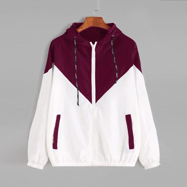 אופנה מעילים בסיסיים נשי רוכסן כיסים מקרית ארוך שרוולים מעילי סתיו ברדס מעיל שני טון מעיל רוח מעיל
