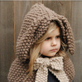 CNRUBR Winter Baby Hats & Caps Rabbit Ear Shawl Kids Wool Knitted Hats Baby Girls Shawls Handmade Knitted Baby Accessories
