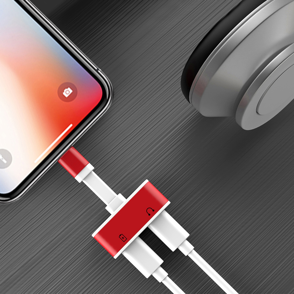 Rocketek 2 In 1 For IPhone 7 Charging Adapter For IPhone 8 7 Plus 10 X Charger Splitter Headphone Adapter