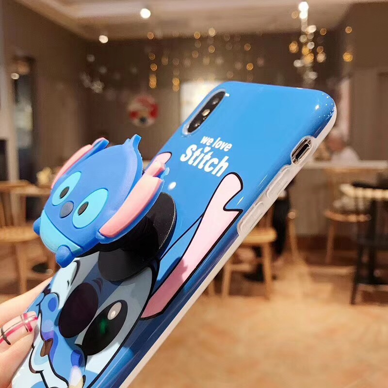 Lilo and Stitch phone case with pop holder socket relief