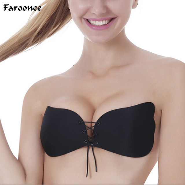 ef2cd428eaa9c Faroonee Women s Sexy Push Up Bra Silicone Front Lace Up Bralette Invisible  Strapless Bra Silicone Intimates Bras 3 4 Cup2C0095