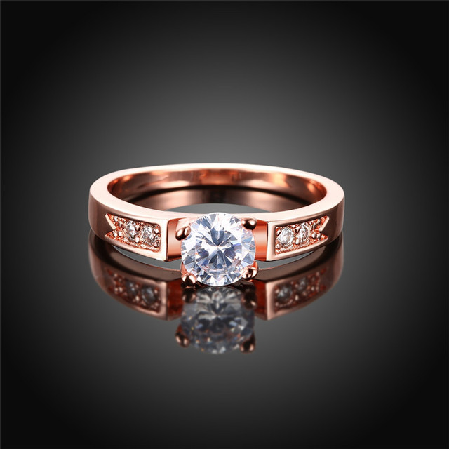 New Classical 6mm Prong Setting CZ Wedding Ring Real Rose Gold Color ...