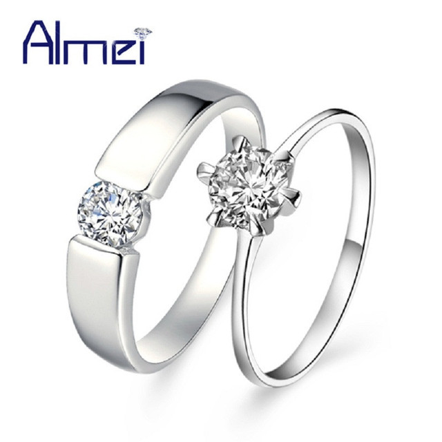 Almei  Hot Sale Couple Pair Men Ring  Silver Color Jewelry  Women Unisex Crystal Rings for Wedding Party Gift Size 4.5-12 J002