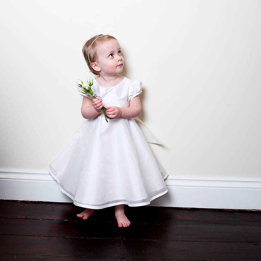 Free Shiping Flower Girls Dresses For Wedding Gowns Ankle- Length Baby Girl Clothes Satin Communion Dresses