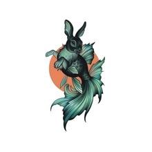 Wyuen Hot Waterproof Temporary Tattoo Stickers For Adults Kids Body Art Rabbit Fish MX-044 Fake Tatoo For Man Woman