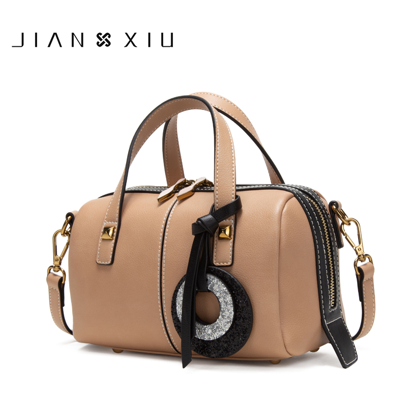 JIANXIU Brand Women Pu Leather Handbag Fashion Top-Handle Bag Fringe Decoration Shoulder Bag 2018 Newest Capacity Boston Tote