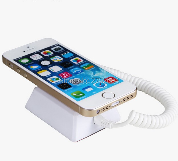 Anti-Theft Security Cell Phone Holder Smartphone Alarm Charging Display Stand hanging wall style wholesale price mobile phone anti theft alarm display stand with charging for exhibition