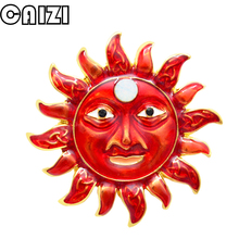 CAIZI 2019New Red Cute Sun god Brooch Rhinestone Flower Brooches For Women Enamel Pin Wedding Jewelry Clothes Accessories Gifts caizi new blue dragon brooch cute fish animal brooches for women simulated pearl enamel pin wedding jewelry clothes accessories