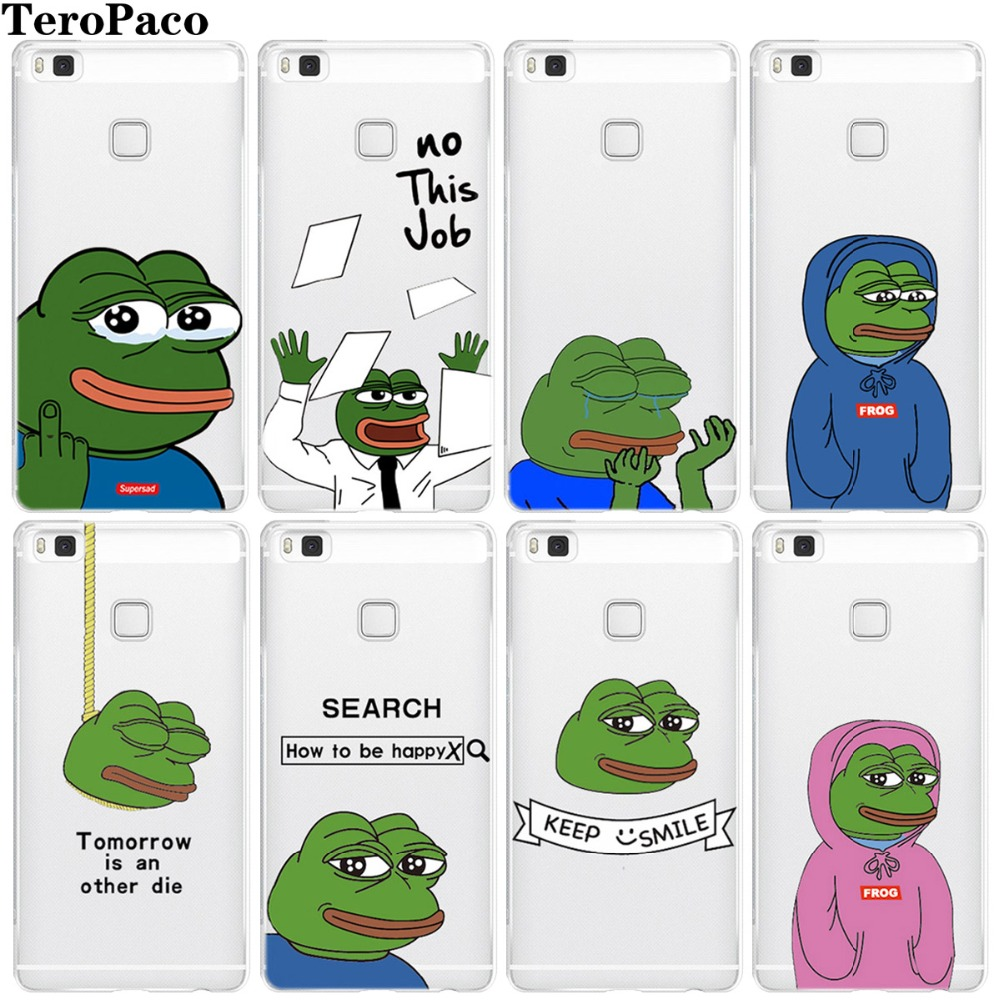 For Huawei P8 P9 P10 P20 Mate10 Mate20 Lite Pro Plus 2017 Sad Frog Pepe Memes Soft Silicon Phone Case Cover Coque Fundas image