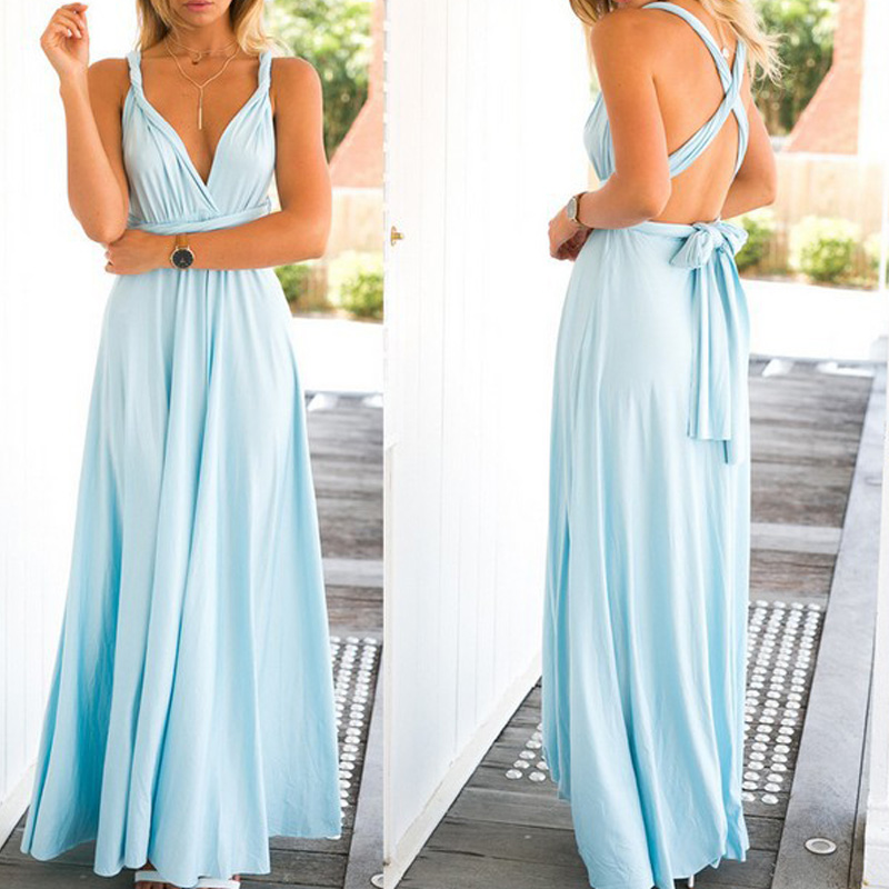 <font><b>Sexy</b></font> Women Bandage Maxi <font><b>Dress</b></font> <font><b>Red</b></font> Beach Long <font><b>Dress</b></font> Multiway Bridesmaids Convertible Wrap Party <font><b>Dresses</b></font> Robe Longue Femme image