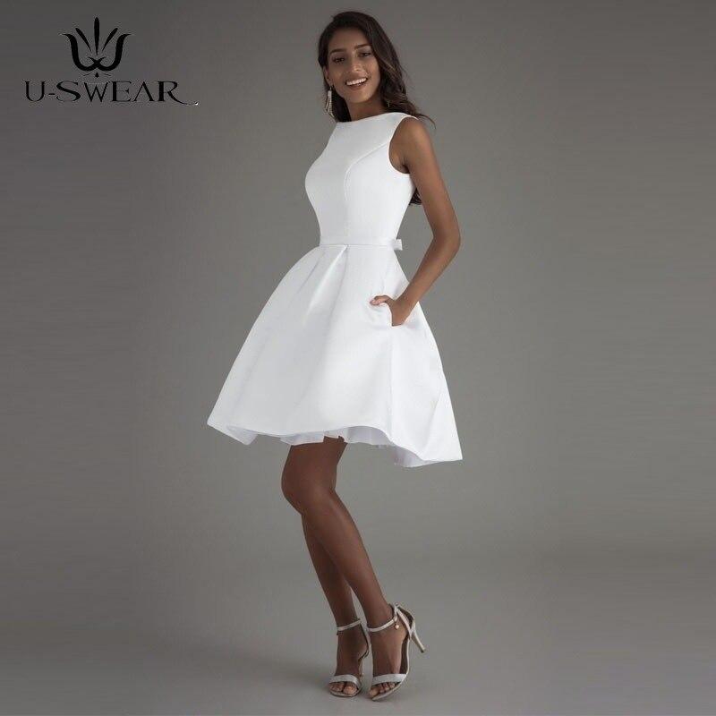 U-SWEAR 2019 Sexy Blanc Court Robes De Soirée D'o-Cou Sans Manches Dos Nu Simple Partie De Bal Formelle Robes Robes Robe De Soirée
