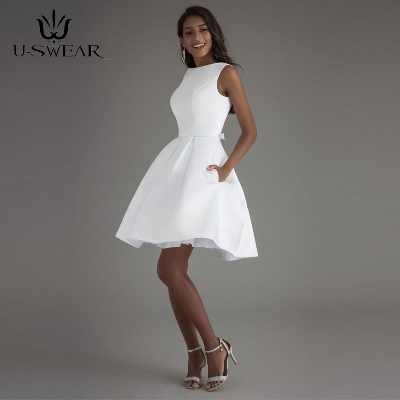 U-SWEAR 2019 Sexy White Short Evening Dresses O-Neck Sleeveless Backless Simple Party Prom Formal Gowns Vestidos Robe De Soiree