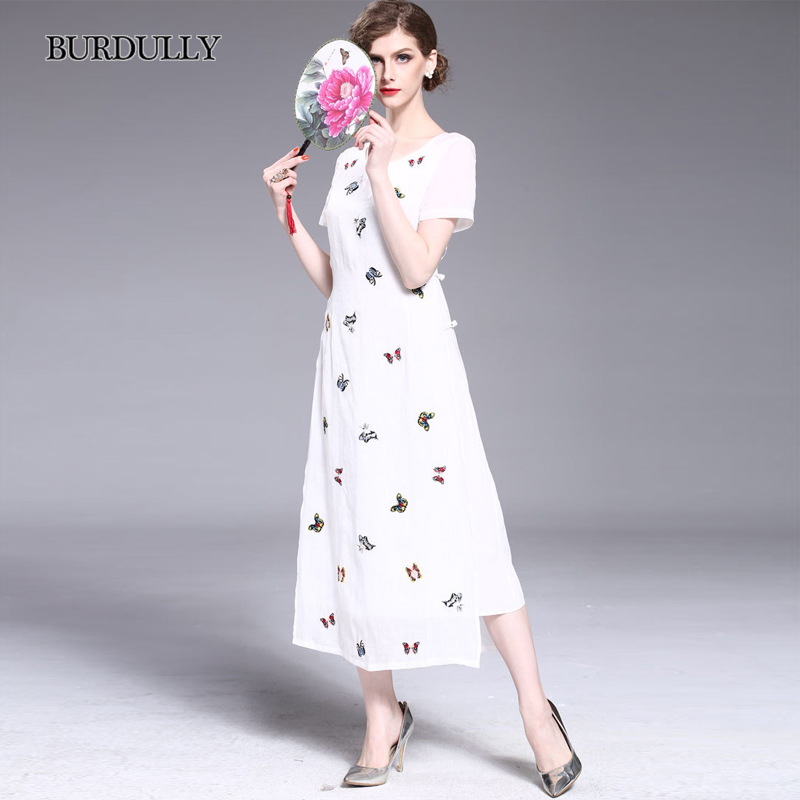 4949f82d1860 BURDULLY White Butterfly Dress Vintage Linen Cotton Ladies Chinese Embroidery  Dresses 2018 New Arrive Summer Long Dress Elegant-in Dresses from Women's  ...
