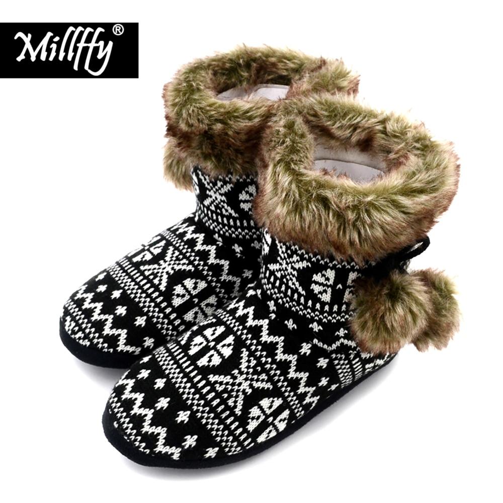 Millffy nordique bottes femmes ultra bottes faux De Fourrure Boot Mémoire  mousse botas accueil chaussures Dames Tricot Sherpa chambre chausson  occasionnels ... d4b245b334e