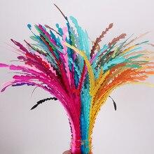 Несколько цветов 100 шт./лот Цветной 25-30 см в форме свободные COQUE ПЕТУХ хвост перья/длинные перья для чародей шляпы и шляп