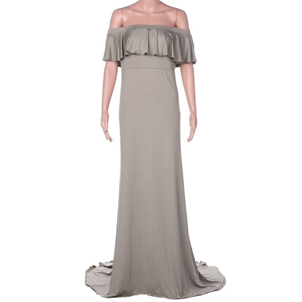 Горячая Распродажа платье для беременных женщин платье для беременных реквизит для фотосессии сексуальное Макси платье для беременных и матерей после родов одежда - Цвет: Серый