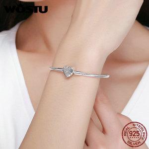 Image 2 - WOSTU Genuine 925 Sterling Silver Tree of Life Charm Bracelet & Bangle For Women Fit Original Brand DIY Beads Jewelry CQB066