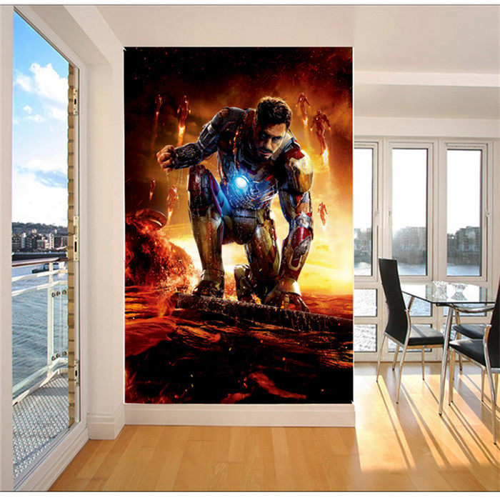 Iron Man Photo Wallpaper Super Hero Art Mural Movie Silk Room Decor Bedroom Living Kids Rooms Free Shipping In Wallpapers From Home