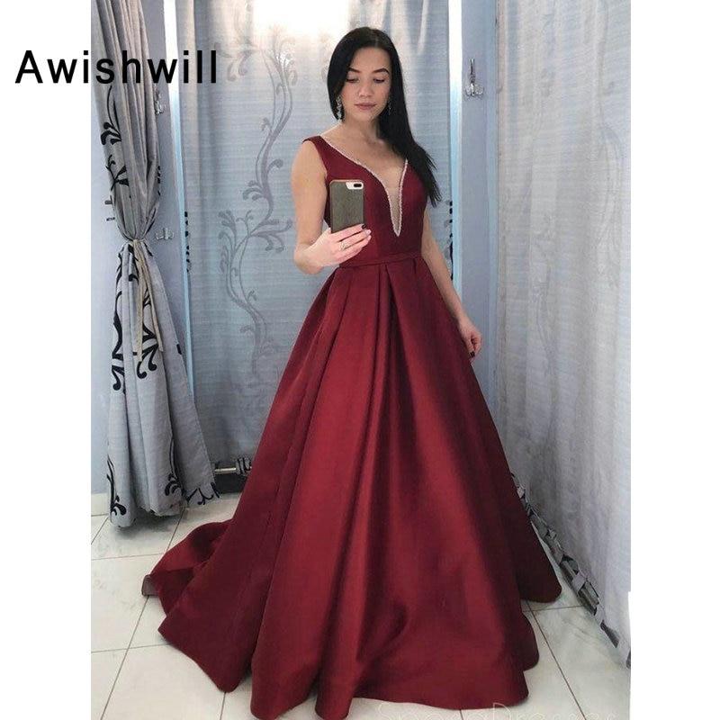 Custom made Burgundy Formal Evening Dress Elegant V neck Beaded Satin Backless Long Prom Party Gowns Plus Size Robe de Soiree