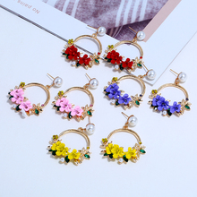 HOCOLE Cute Korean Rhinestone Flower Big Round Circle Drop Earrings Fashion Pearl Wedding Party Jewelry Pendientes For Women