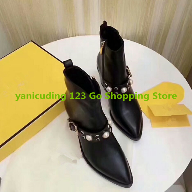 Pointed Toe Med Heel Women Ankle Boots Side Zip Design Women Shoes Pearl Bling Short Booties Belt Decor Luxury Brand Super Star fashion velvet women short booties pointed toe back zip metal decor ankle boots botines mujer women platform pumps shoes