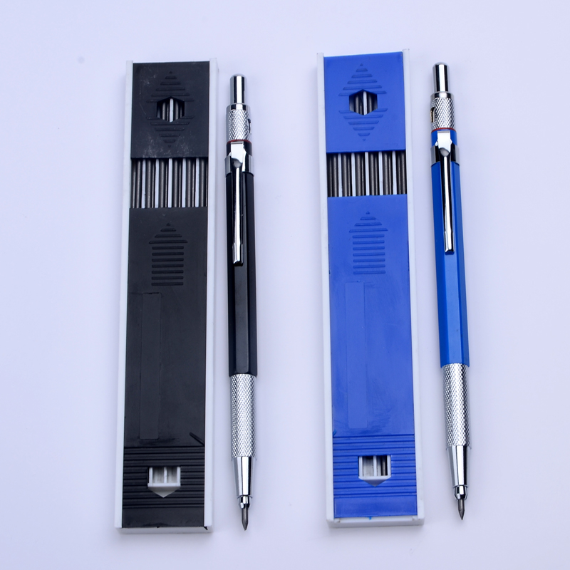Best Promotion 2.0 Mm 2B Lead Holder Metal Mechanical Drafting Drawing Pencil With 12 Pieces Leads School Stationery Supplies