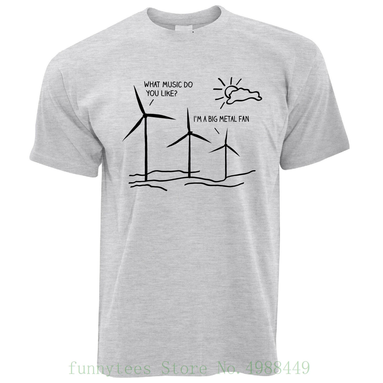 Novelty Music T Shirt I'm A Big Metal Fan Pun Joke Windmill Eco Rock Band Summer Man Tshirt Tops Tees New image