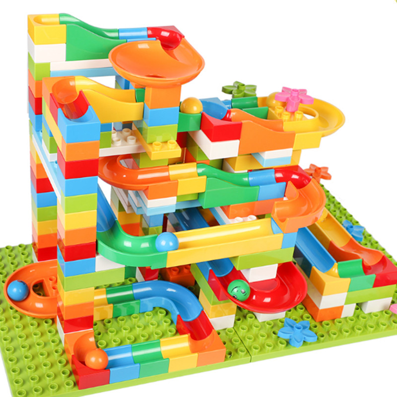 68-183pcs Marble Race Run Maze Balls Track Building Blocks Animals Big Size Educational Bricks Compatible With LegoED DuploED