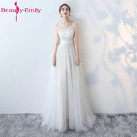 Beauty Emily White Wedding Dresses 2017 New Sexy Scoop Tulle Appliques Beach Bride Dress Long Ivory