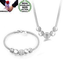 OMHXZJ Wholesale Personality Fashion Woman Gift Silver Beads Mesh Chain 925 Sterling Silver Bracelet+Necklace Jewelry Set SE48 цена