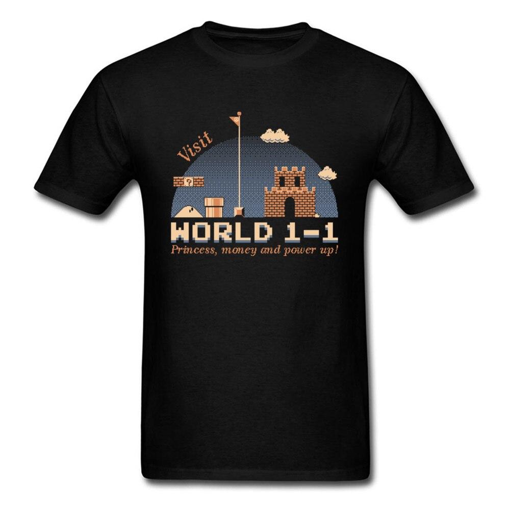 Mario T Shirt Men Top World 1 1 Castle T-shirt Summer Black Tshirt Plumber Tee Vintage Clothing Nostalgic 80s Game