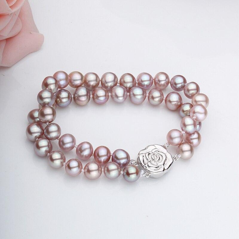купить RUNZHUQIYUAN 2017 100% natural freshwater pearl Bracelet 8-9 MM Pearl silver jewelry wedding Bracelet best gifts for women girl по цене 5059.01 рублей