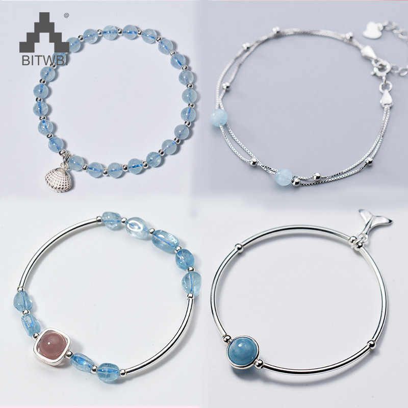 100% 925 Sterling Silver Bracelet for Women Natural Lucky Gem Stone Beads Aquamarine Charm Bracelets Bangles