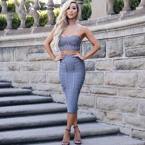 Image 1 - Seamyla Mới Lưng Giữa Sexy Gợi Cảm Băng Đô Đầm Vestidos Verano Mùa Hè 2019 2 Hai Mảnh Bộ Nữ Ôm Body Xám Người Nổi Tiếng Đầm Dự Tiệc