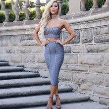 sexy strapless two piece set women bandage dresses bodycon vestidos verano 2018 summer grey celebrity party dress