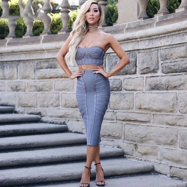 new sexy strapless two piece set women bandage dresses bodycon vestidos verano summer grey celebrity party dress