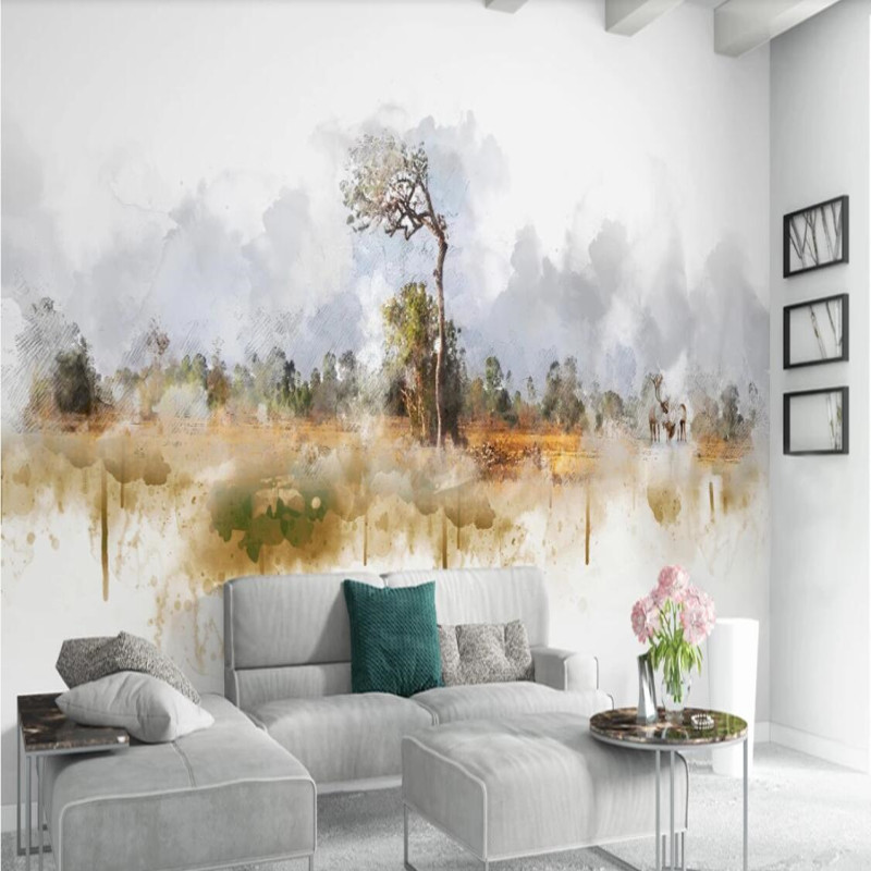 Modern nordic minimalistic abstract tree elk landscape background wall in Fabric Textile Wallcoverings from Home Improvement