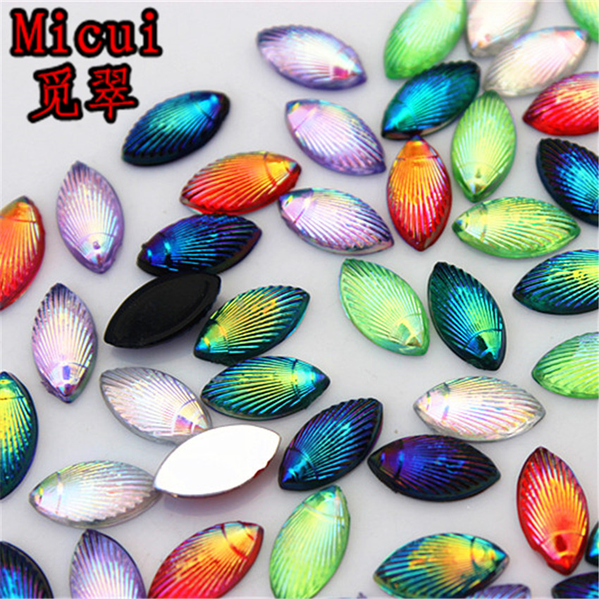 Micui 100pcs 5*10mm AB Color Acrylic Rhinestones Horse eye stones Flatback Crystals For Clothes Crafts Jewelry Accessories ZZ570