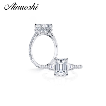 AINOUSHI Luxury Emeraled Cut Ring 925 Solid Sterling Silver SONA Square Ring Wedding Jewelry Rings for Women Engagement