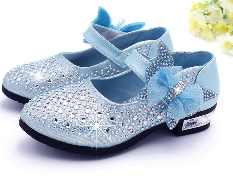 Fashion Children Princess Shoes Rhinestone Glitter Leather Shoes For Girls Autumn Girls Shoes Pink Silver Golden
