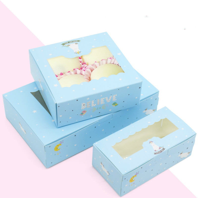 10 Pcs Unicorn Gift Paper Box Kids Birthday Wedding Party Kraft Paper Box With Window Cake Packaging Candy Cookies Cupcake Boxes