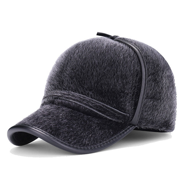 2016 winter dad hat warm cotton faux fur leather edge protection fitted mens winter hats ear flaps baseball cap