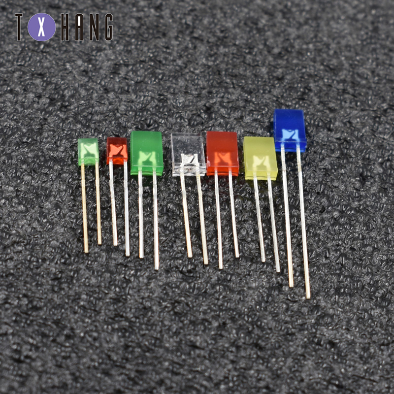 500PCS 2x5x7mm Rectangle LED Green Colou Green Light Emitting Diode NEW