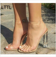 LTTL Women Ankle Buckle Strap Sandals Fashion PeepToe Crystal High Heel Transparent Women Sandals Trend Clear