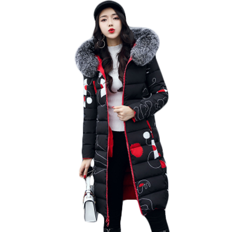 Women's Print Solid Color Two Side Wear Long Winter Jacket Reversible Hooded Coat Female Basic Cotton   Parkas   Plus Size 3XL XH731