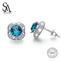 SA SILVERAGE Real 925 Sterling Silver Blue Crystal Square Stud Earrings New For Woman Accessories Brincos